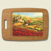 Red Poppy Bamboo & Glass Cutting Board