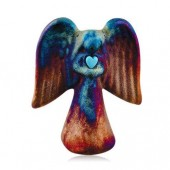 Raku Angel with Gemstone